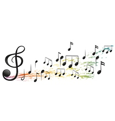 The g-clef and the different musical notes vector