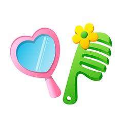 Icon mirror and comb vector