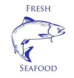 Salmon fish with text fresh seafood vector
