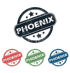 Round phoenix city stamp set vector