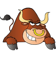 Brown bull over a sign vector