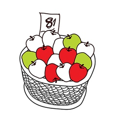 The apples in the basket vector