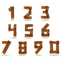 Wooden numbers vector