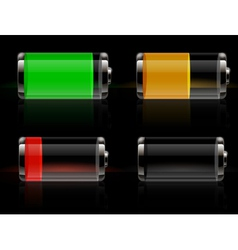 Glossy transparent battery icons set vector