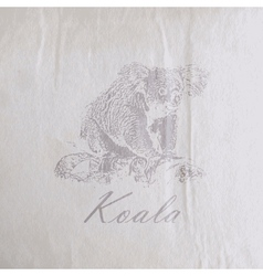 Vintage of a koala bear on the old wrinkled paper vector