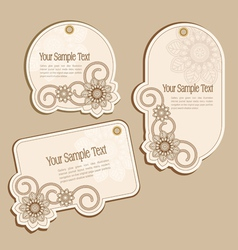 Vintage floral price tags vector