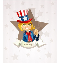 4th july poster with pretty blond girl vector