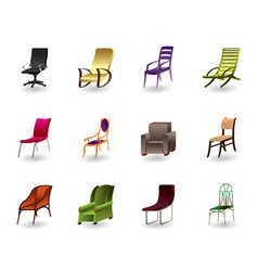 Luxury interior office and plastic chairs vector