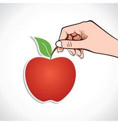 Apple in hand vector