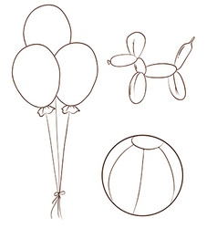 Simple sketches of the balloons and a ball vector