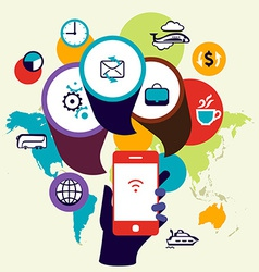 Mobile phone device seo optimization business vector