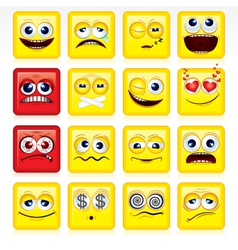 Stylized square shaped yellow smileys vector