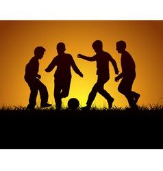 Four boys playing football vector