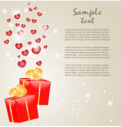 Gift boxes with gold ribbons and hearts vector