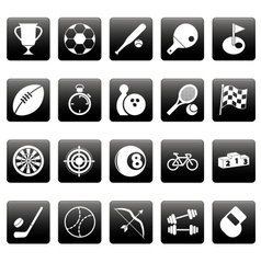 White sport icons on black squares vector