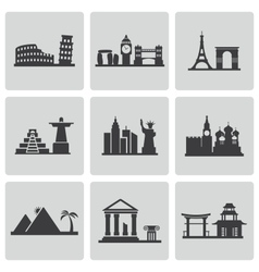 Black landmarks icons set vector
