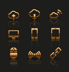 Golden web icons set vector