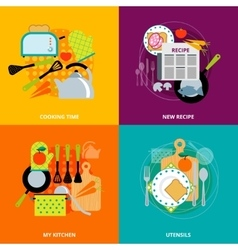 Cooking concept 4 flat icons square vector