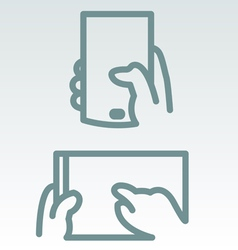 Phone and tablet use simple icons vector