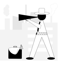 Boss angry with megaphone vector