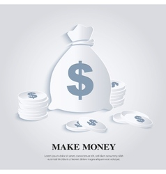 Icon with money bags and coins vector