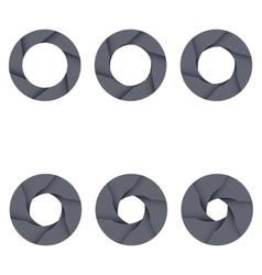 Set of black camera shutter icons on white vector