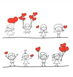 Happy kid and love characters vector