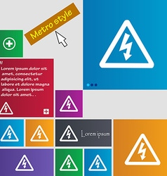 Voltage icon sign buttons modern interface website vector
