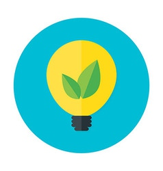 Eco idea flat circle icon vector