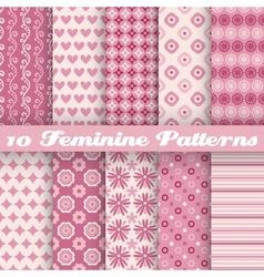 10 feminine seamless patterns tiling fond pink vector