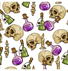 Doodle seamless pattern with flasks and skulls vector
