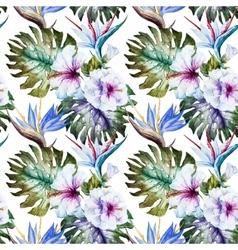 Watercolor hibiscus patterns vector