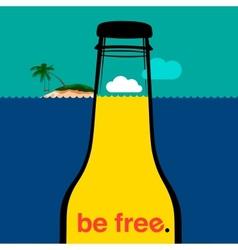 Summer bottle in the sea vector