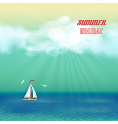 Retro sea yacht summer travel poster vector