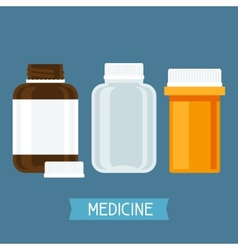 Set of three medical bottles with pills vector