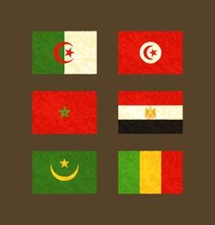 Flags of algeria tunisia morocco egypt mauritania vector
