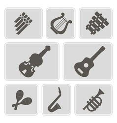 Monochrome icons with musical instruments vector