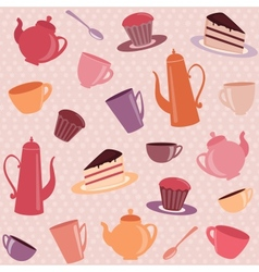 Seamless pattern with tea and coffee items vector