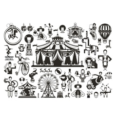 Circus set of icons vector