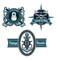 Vintage nautical emblems with marine elements vector