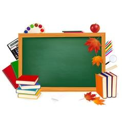 Green desk with school supplies vector