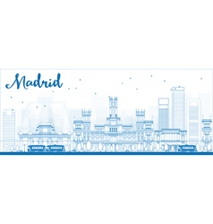 Outline madrid skyline vector