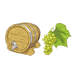 Old wooden barrel and grapes cluster vector
