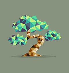 Origami triangle bonsai tree vector