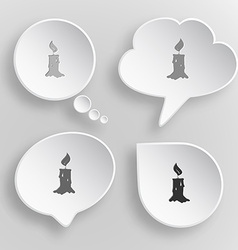 Candle white flat buttons on gray background vector