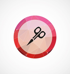 Scissors circle pink triangle background icon vector