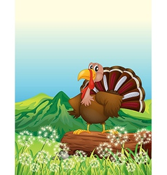 A turkey above a trunk at the hilltop vector