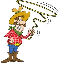 Cartoon cowboy with a lasso vector