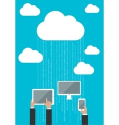 Cloud service concept with connected devices vector
