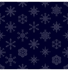 Various types of outline white snowflakes seamless vector